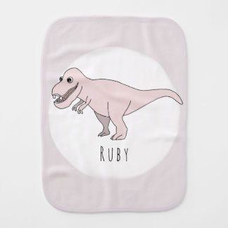 Baby Girl Pink Doodle T-Rex Dinosaur with Name Burp Cloth