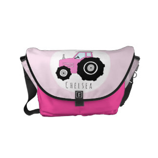 Baby Girl Pink Farmer's Tractor with Name Diaper Courier Bag