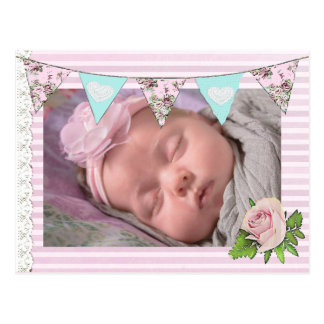 Baby Girl Pink Floral Chic Birth Announce Postcard