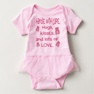 Baby Girl Pink Handle with Love and Hugs Baby Bodysuit