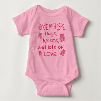 Baby Girl Pink Handle with Love outfit Baby Bodysuit