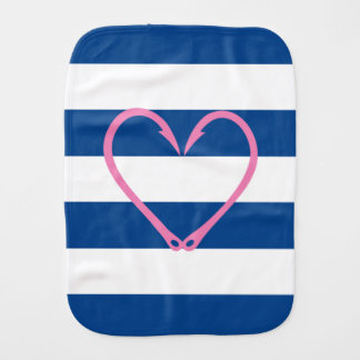 BABY GIRL PINK HEART NAUTICAL BURP CLOTH