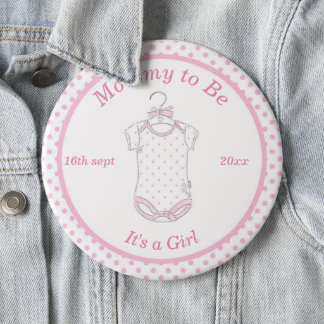 Baby Girl Pink Mommy to Be Button