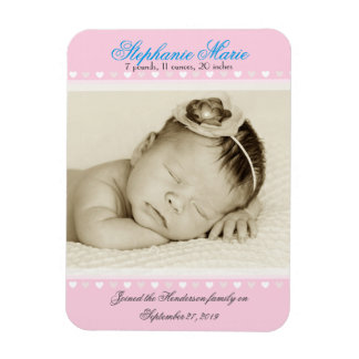 Baby Girl Pink Photo Birth Announcement Rectangular Photo Magnet