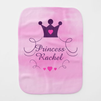 Baby Girl Pink Princess Crown Tiara Royalty Hearts Burp Cloth