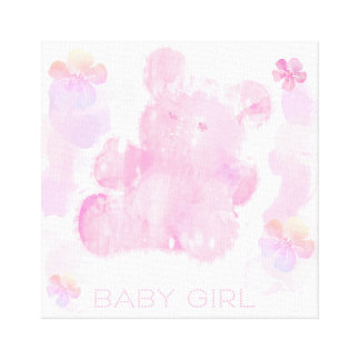 "Baby Girl Pink Teddy Bear 14"" x 11"", 1.5"" Canvas Print"