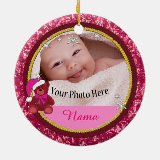 Baby Girl Pink Teddy Bear Personalized Christmas Ceramic Ornament