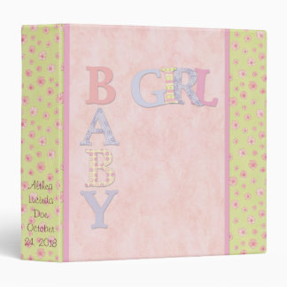 Baby Girl Pink Yellow Scrapbook Photo Album Binder