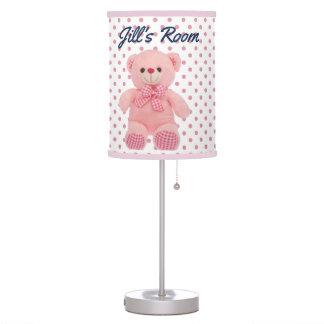 Baby Girl Polka Dot & Teddy Bear Table Lamp