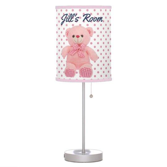 Baby Girl Polka Dot & Teddy Bear Table Lamps