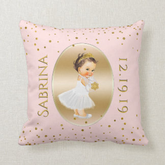 Baby Girl Princess Nursery | Blush Pink Gold Dots Throw Pillow