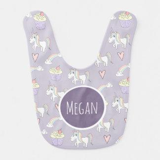 Baby Girl Purple Magical Unicorn Pattern with Name Bib