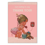 Baby Girl Ringing To Say Thank You Baby Shower Note Card