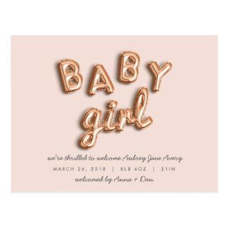 BABY girl! Rose gold/PINK postcard. Postcard