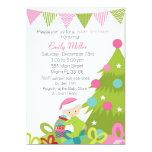 Baby Girl Shower Invitation Christmas Tree