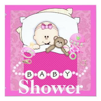 BABY GIRL SHOWER INVITATION WITH TEDDY BEAR