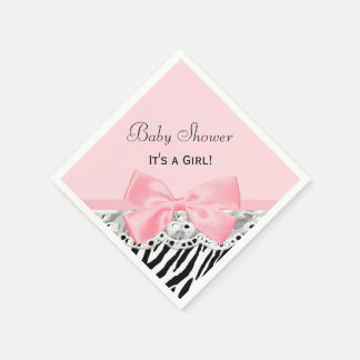 Baby Girl Shower Pink Ribbon and Lace Zebra Print Disposable Napkins