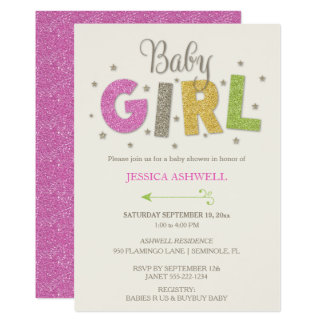 Baby Girl Shower Stars Pink Green Gold Card
