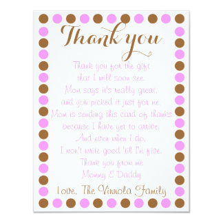 "Baby girl shower thank you card from baby 4.25"" x 5.5"" invitation card"
