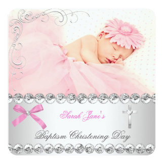 "Baby Girl Silver Pink Christening Baptism Cross 5.25"" Square Invitation Card"