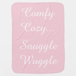 Baby Girl Silver Pink Rattle Reversible Blanket