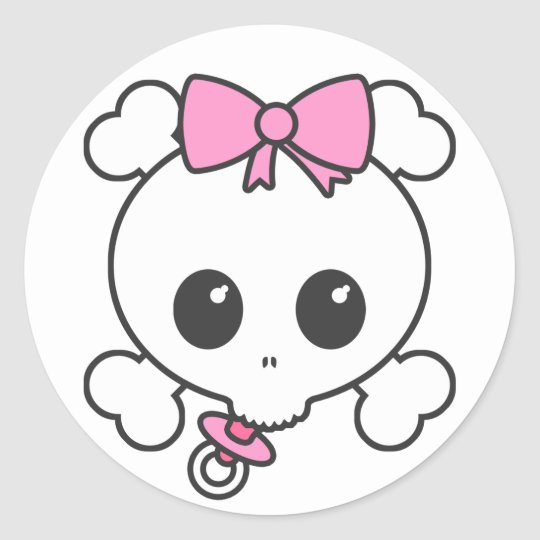 Baby Girl Skully Classic Round Sticker