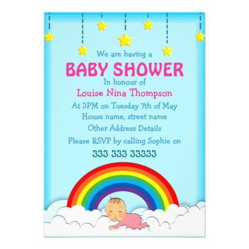 baby girl sleeping under a rainbow baby shower 5 x 7 invitation c