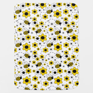 Baby Girl Stats Bumble Bee White Yellow Floral Baby Blanket