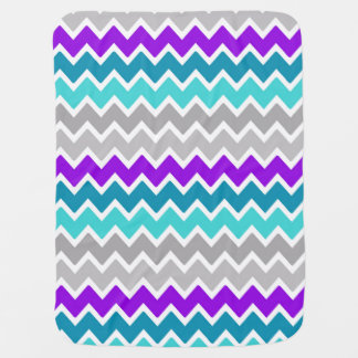 Baby Girl Stats Teal Turquoise Purple Gray Chevron Baby Blanket