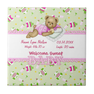 Baby Girl Teddy Bear Ceramic Tiles