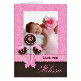 Baby Girl Thank You Card Cake Pops Pink Cute