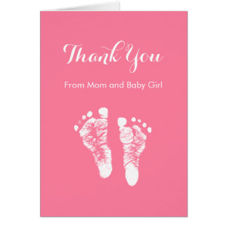 Baby Girl Thank You Cute Pink Newborn Footprints Stationery Note Card