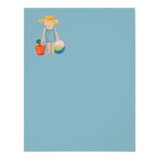 "Baby Girl Toddler on Summer Beach Birthday Blue 4.25"" X 5.5"" Invitation Card"