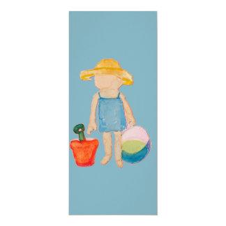 "Baby Girl Toddler on Summer Beach Birthday Blue 4"" X 9.25"" Invitation Card"