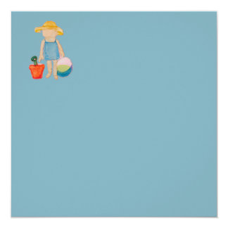 "Baby Girl Toddler on Summer Beach Birthday Blue 5.25"" Square Invitation Card"