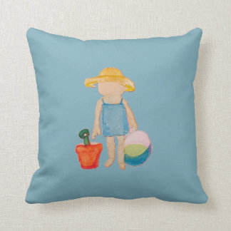 Baby Girl Toddler on Summer Beach Birthday Blue Throw Pillow