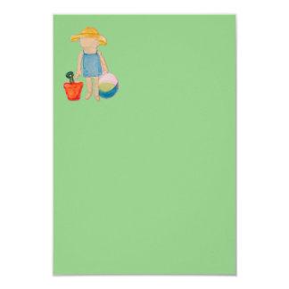 "Baby Girl Toddler on Summer Beach Birthday Mint 3.5"" X 5"" Invitation Card"