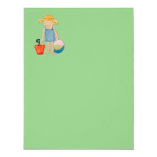 "Baby Girl Toddler on Summer Beach Birthday Mint 4.25"" X 5.5"" Invitation Card"