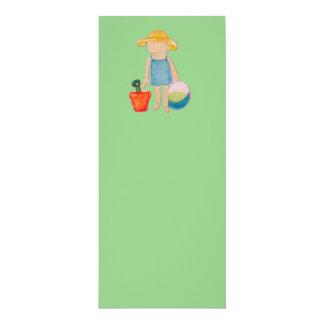"Baby Girl Toddler on Summer Beach Birthday Mint 4"" X 9.25"" Invitation Card"