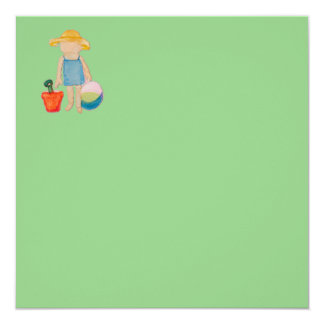 """Baby Girl Toddler on Summer Beach Birthday Mint 5.25"""" Square Invitation Card"""