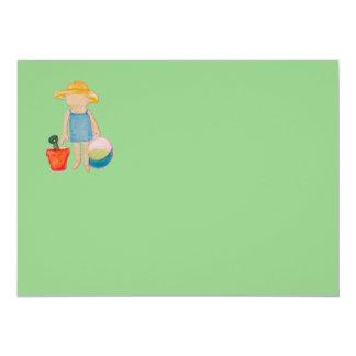 "Baby Girl Toddler on Summer Beach Birthday Mint 5.5"" X 7.5"" Invitation Card"