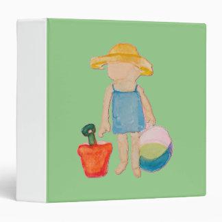 Baby Girl Toddler on Summer Beach Birthday Mint Binder