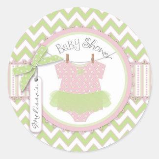 Baby Girl Tutu Chevron Print Baby Shower Classic Round Sticker