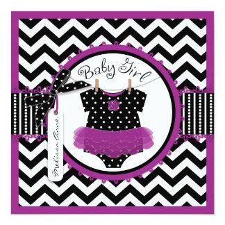 Baby Girl Tutu Chevron Print Baby Shower 5.25x5.25 Square Paper Invitation Card
