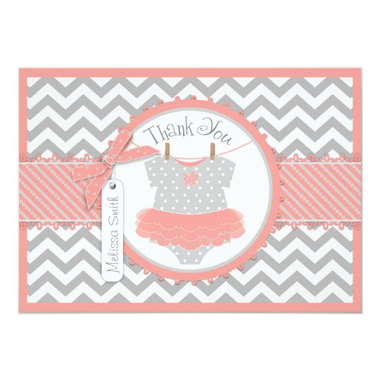 Baby Girl Tutu Chevron Print Thank You Card