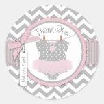 Baby Girl Tutu Chevron Print Thank You Label Classic Round Sticker