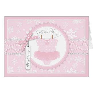 Baby Girl Tutu Snowflak Print Thank You Card