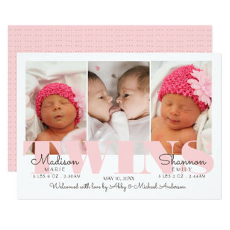 Baby Girl Twins Pretty in Pink Birth Announcement