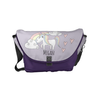 Baby Girl Unicorn Rainbow Message Name Diaper Bag Courier Bag