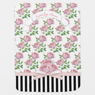 Baby Girl Vintage Pink Rose Pattern Black Stripes Baby Blanket